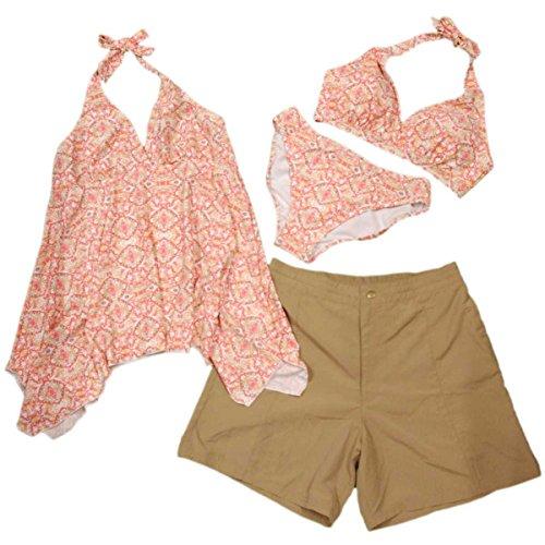 [해외]여성 수영복 4 종 세트 | 레트로 | 마스크 무늬 | 홀터넥 비키니 | 비대칭 커버 업 | 바지 체형 커버도 11L-L 13L-LL 9M-M/Ladies swimwear set of 4 points | Retro | Damask pattern | Halter neck bikini | Asymmetric cover up | Pants with bod...