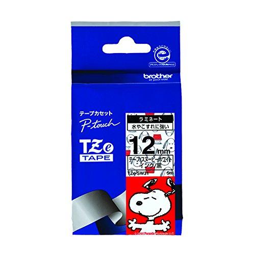 ピータッチ スヌーピーキャラクターテープ スヌーピーホワイトラベル TZe-SW31 [黒文字 12mm×5m]