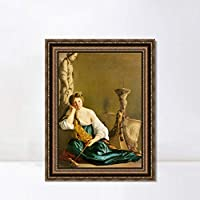 """INVIN ART Framed Canvas Art Giclee Print The Disillusioned Medea by a Lizard by Michelangelo Merisi da Caravaggio Wall Decorations(Vintage Embossed Gold frame,24""""x32"""")"""