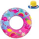 浮き輪 子供用 可愛いフラミンゴ柄 水遊び スイミング 海フロート 便利に携帯 フットポンプ付き