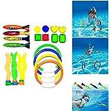 Hamkaw スイミングプール ダイビングトイ 子供用 水中シンキングトイ トレーニングリング 夏の楽しい水泳ゲームセット