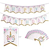 ユニコーンの誕生日用品子供のためのユニコーンのハッピーバースデーバナーハッピーバースデーフラワーユニコーンの誕生日のバナーの装飾