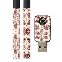 スマコレ プルームテック ploom tech バッテリー スティック 専用スキンシール USB充電器 カバー ケース 保護 フィルム タバコ フラワー 模様 エレガント 赤 004286