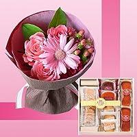 誕生日プレゼント ピンク花束&有精卵たっぷりスイーツセットB お母さんへのメッセージカード付き (SE)