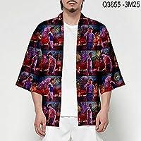 Kimono Cardigan Japanese Anime Kimono Men's Samurai Clothing Men's Yukata Traditional Costumes CQQO (Color : 5, Size : The)