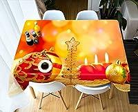 ラウンドテーブルクロス 3Dテーブルクロス絶妙なクリスマス柄ターポリン水増し長方形ウェディングテーブルクロス テーブルクロス (Color : D, Size : 150*80cm)