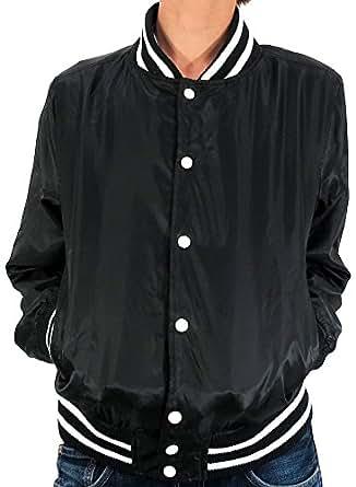 (マルカワジーンズパワージーンズバリュー) Marukawa JEANS POWER JEANS VALUE スタジャン メンズ 無地 ナイロン 迷彩 薄手 秋 2color M ブラック
