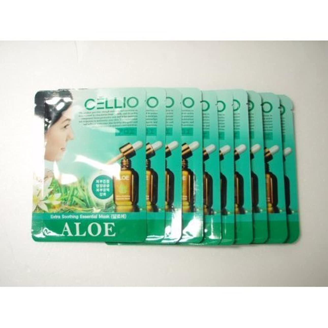 傾斜ペレット一時的Cellio Extra Soothing Essential Mask_Aloe_10 sheets