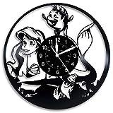 流花ビニールレコードウォールクロック-リトルマーメイド映画はディズニーアートであなたの家を飾る-あなたの子供に最高の贈り物を与え..