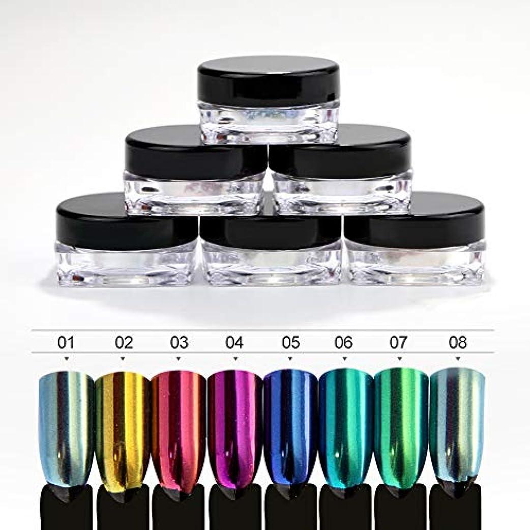 材料服を着る居心地の良いTwinkle Store  8個、 1g入り ネイルパウダー ネイルアート ミラーパウダー 鏡面効果がある、 ネイル初心者でも簡単です。