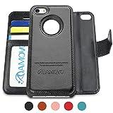 AMOVO iPhone 6 Plus 手帳ケース iPhone 6s Plus 手帳ケース ストラップ付き 金属吸着可能 可分離ケース手帳型 (ブラック)