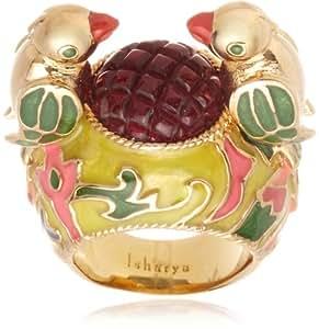 [アイシャーヤ] Isharya cuckoo jaisel enamel ring; carved tourmaline glass, yellow, green and pink enamel, 18k gold plated brass R1439-02-351-5 日本サイズ9号