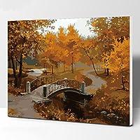 LoveTheFamily 数字油絵 数字キット塗り絵 手塗り DIY絵 デジタル油絵 40 x 50 cm ホーム オフィス装飾 - 木々
