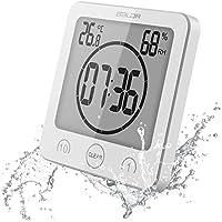 【 a-mumu 】 デジタル温湿度計 [ 時計 タイマー 温度計 湿度計 熱中症 乾燥肌 インフルエンザ 風邪 ] 高精度 壁掛け穴 立掛け スタンド 吸盤付き 防水 風呂 浴室