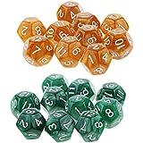 F Fityle 約20枚 12面 サイコロ 多面体ダイス 賽子 カップゲーム ボードゲーム用 全2選択 - チョコレート+緑