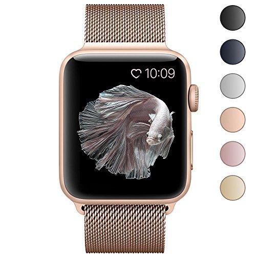 BRG For apple watch バンド,ミラネーゼループ アップルウォッチバンド アップルウォッチ1 apple watch series 2 apple watch series 3 ステンレス留め金製(42mm,series3ゴールド)18ヶ月保証付き