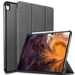 iPad Pro 12.9 ケース Infiland Apple pencil 2代対応iPad Pro 12.9 (2018新型)三つ折スタンドカバー キズ防止 軽量 薄型 オートスリープ機能 2018年発売の 新しいiPad Pro 12.9インチ 対応 全角度保護カバー ワイヤレス充電 (グレー)
