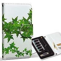 スマコレ ploom TECH プルームテック 専用 レザーケース 手帳型 タバコ ケース カバー 合皮 ケース カバー 収納 プルームケース デザイン 革 花 植物 シンプル 009136