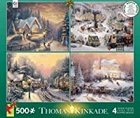 Ceaco Thomas Kinkade 4-in-1 Multi-Pack Holiday Jigsaw Puzzle (500 Piece)