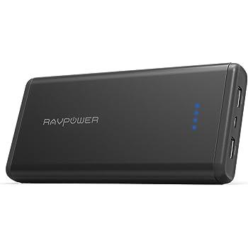 RAVPower 20000mAh モバイルバッテリー ポータブル充電器 急速充電 iSmart2.0機能(2A入力、 2ポート 、2.4A出力) iPhone X/Xs / Xs Max/XR/ iPhone 8 / iPad/Android 等対応 RP-PB006 黒