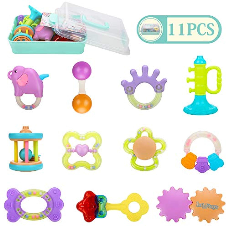 Homejoyi 赤ちゃん 歯がためおもちゃ ガラガラ ラトル ハンドラトル 11PCS ベビー?赤ちゃんのおもちゃ 出産お祝い おしゃぶり 新生児 プレゼント