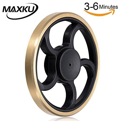 MaxKu ハンドスピナー 2017最新型 Hand spinner Fidget Spinner Toy 高速回転 指スピナー 亜鉛合金製 おもちゃ ストレス解消 3-6分回転可 フォーカス玩具 大人も子供も適合 ゴールド