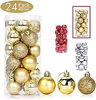 24ピースクリスマスツリーオーナメントセット1.57インチミニホリデーデコレーションボール(赤)