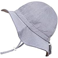 Toddler Boys Girls Cotton Sun Hats 50 UPF, Drawstring Adjustable, Stay-On Tie (M: 6-30m, Floppy Hat: Grey Tiny Argyle)