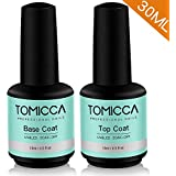 TOMICCA 2x15ml No Wipe Top Coat and Base Coat Set,Soak Off UV LED Gel Nail Polish Base and Top Coat Kit Long Lasting Shiny Finish Gel Polish