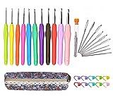 かぎ針編みのフックセット11サイズソフトグリップハンドル糸編み針クラフトキットと縫い針、ステッチマーカー