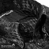 (ブラックバリア) BLACK VARIA サテンシャツ ドゥエボットーニ チドリ 千鳥柄 メンズ スナップダウン ジャガード 光沢 パーティー ドレスシャツ ブラック黒 161917 M