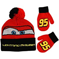 Disney boys Cars Lightning Mcqueen Beanie Hat and Mittens Winter Set Winter Accessory Set Age 2-4