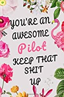 You're An Awesome Pilot Keep That Shit Up: Funny Joke Appreciation Gift Idea for Pilots, Sarcastic Pilot gift for men, 6x9 inch 120 Pages Black Lined Journal