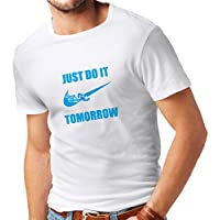 T shirts for men Just Do It Tomorrow - Workout tops with Funny Sayings, Parody Slogan