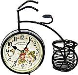 【London'S】 アンティーク風 自転車 置時計 レトロ調 花柄 小物入れ 雑貨 オシャレ インテリア ガラスクリーナー付