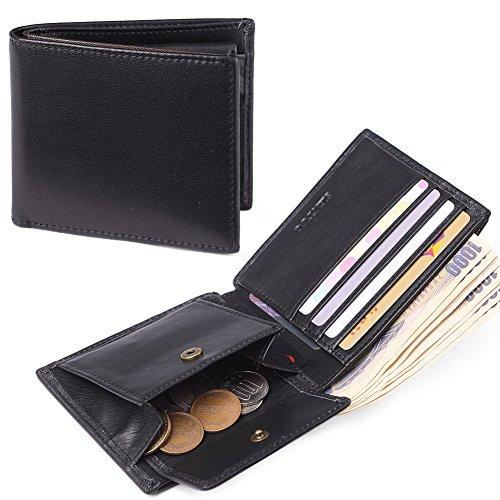 二つ折り財布 本革 人気 ブランド 大容量 父の日ギフト カード多収納 小銭入れ メンズ レディース 男女兼用 SENTUO(ブラック)
