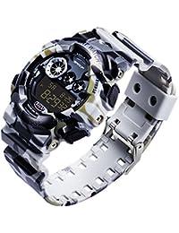 SANDA メンズ 迷彩 PU バンド 耐衝撃 防水 ミリタリー ウォッチ LED 多機能 デジタル Sports スポーツ 腕時計 (グレー)