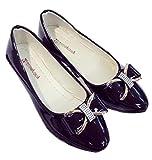 (ヴェロ クオーレ) リボン エナメル パンプス レディース ローヒール フラットシューズ 歩きやすい ペタンコ 靴 (ブラック 25cm)