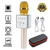 カラオケマイク bluetooth microphone karaoke マイク ブルートゥース マジック カラオケ 無線 マイク スピーカーために Apple iPhone アンドロイド スマートフォン PC 音楽演奏 歌う ホーム KTV Q9 (Gold ゴールデン)