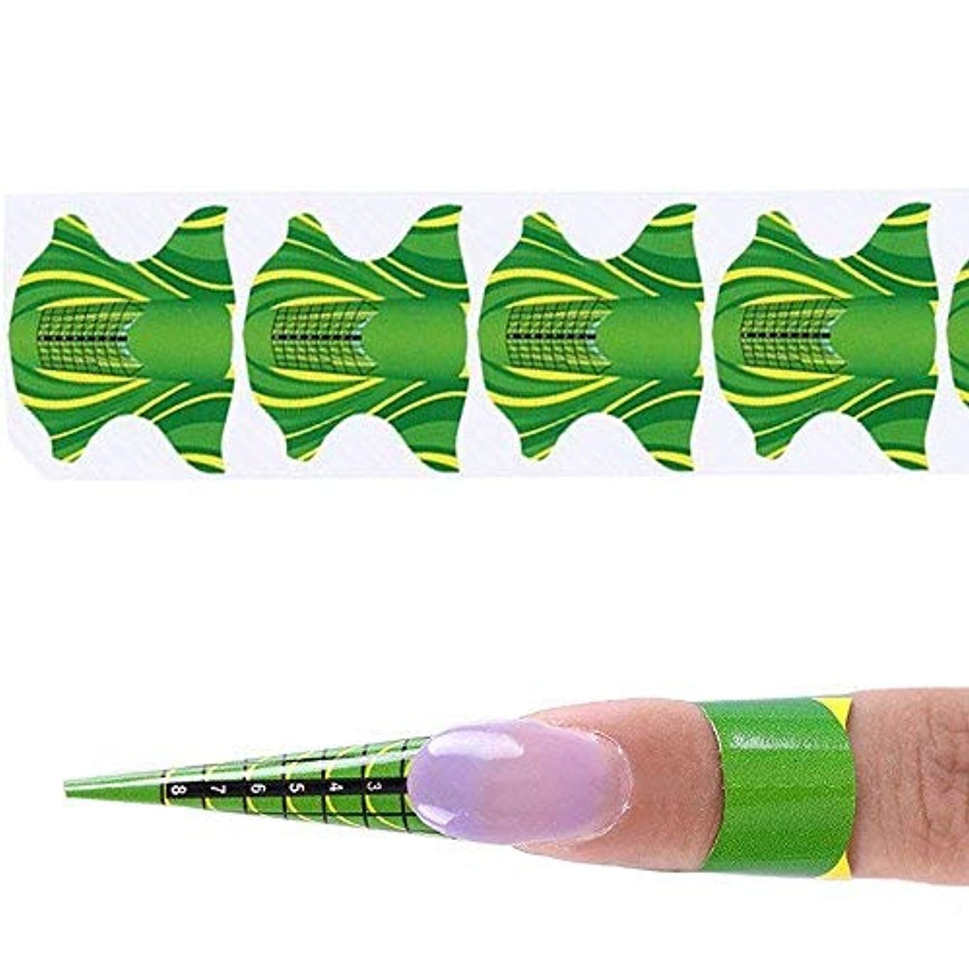 スコア化合物増幅器coraly ネイルアートツール 1巻500枚 紙製のネイルフォーム 長さだしジェルネイルフォーム プロ用 使い捨て(グリーン)