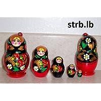 Russian Nesting Doll Lady Bug Strawberry 5 pcs / 3.75 in ** lb.strb-5.4