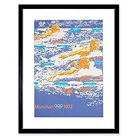 Sport Olympics Swimming Graaf Munchen 1972 Picture Framed Wall Art Print スポーツオリンピック画像壁