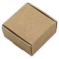 100個ブラウン/ブラック/ホワイトクラフトペーパークラフトジュエリーパッケージボックス小さなギフトパーティーパックボックスfor Biscuits Handmade Soap Candy 5.5X 5.5X 2.5CM (2.1X 2.1X 0.9インチ) 5.5x5.5x2.5cm (2.1x2.1x0.9 inch) ブラウン 0