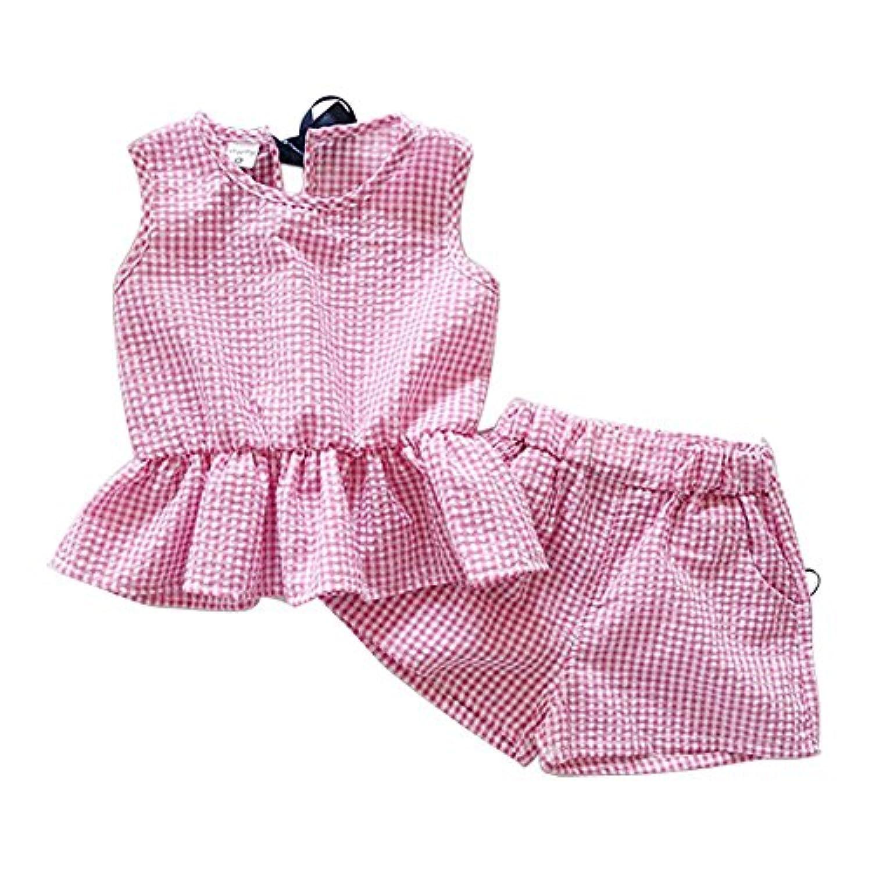 Cutelove ベスト+ショートパンツ2点セット コットン 女の子 赤ちゃん 夏 可愛い 蓮の葉