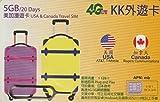 【KK】 アメリカ Wスタンバイカード(AT&T・T-Mobile) カナダ(Rogers) &日本(Docomo) 4G-LTE/3G 20日間 5GB データ通信 プリペイドSIMカード USA W・Stand-by 外遊カード ピン付