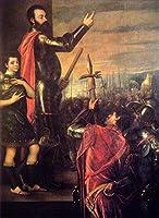 手書き-キャンバスの油絵 - 美術大学の先生直筆 - The Speech of Alfonso dAvalo 1540 Tiziano Titian 絵画 洋画 複製画 ウォールアートデコレーション -サイズ01