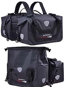 NET-O サイドバッグ 完全防水 ダイヤル式キーロックセット 大容量50L (25L×2個) 完全防水 取り付け簡単 ブラック ツーリング用品 バイク用サドルバッグ シートバッグ