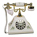 Antique ceramic telephone landline,home dial rotary landline style office classic creative metal fashion (Color : Normal version)