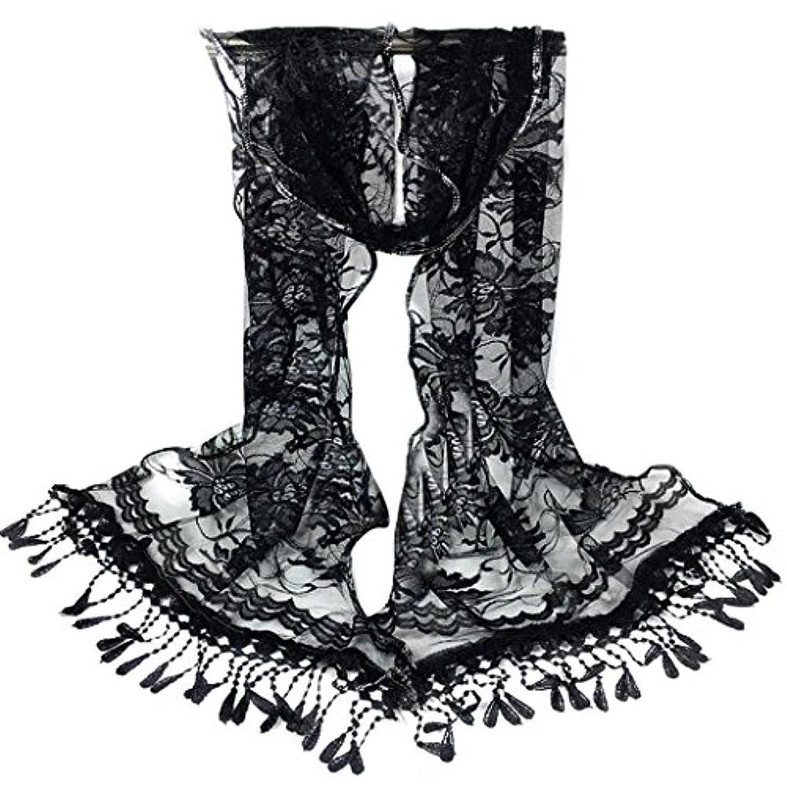 機械倒錯インシュレータ[SakuraBest] 女性ロングスカーフタッセルショールフラワーレーススカーフ