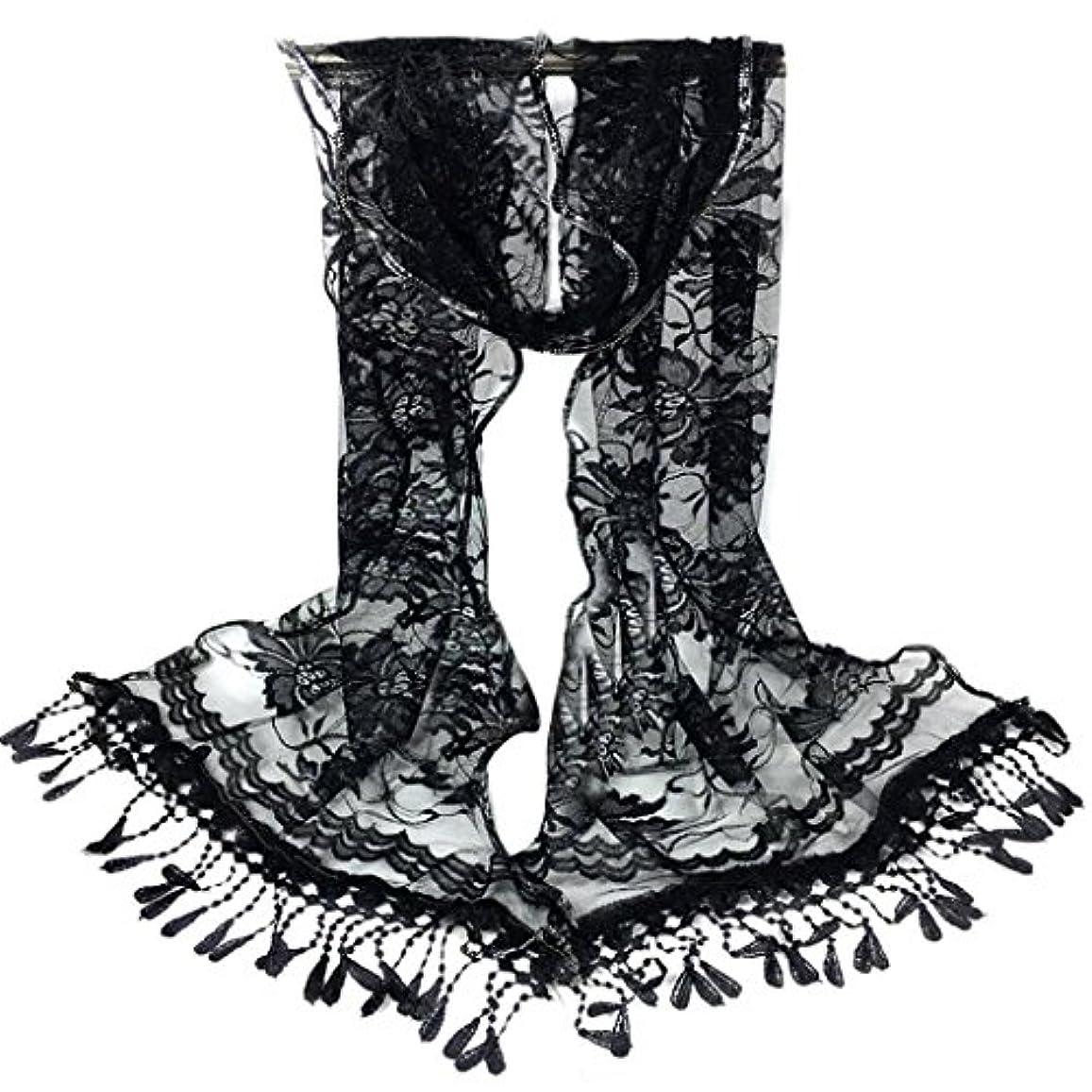 アルカトラズ島第二にマグ[SakuraBest] 女性ロングスカーフタッセルショールフラワーレーススカーフ